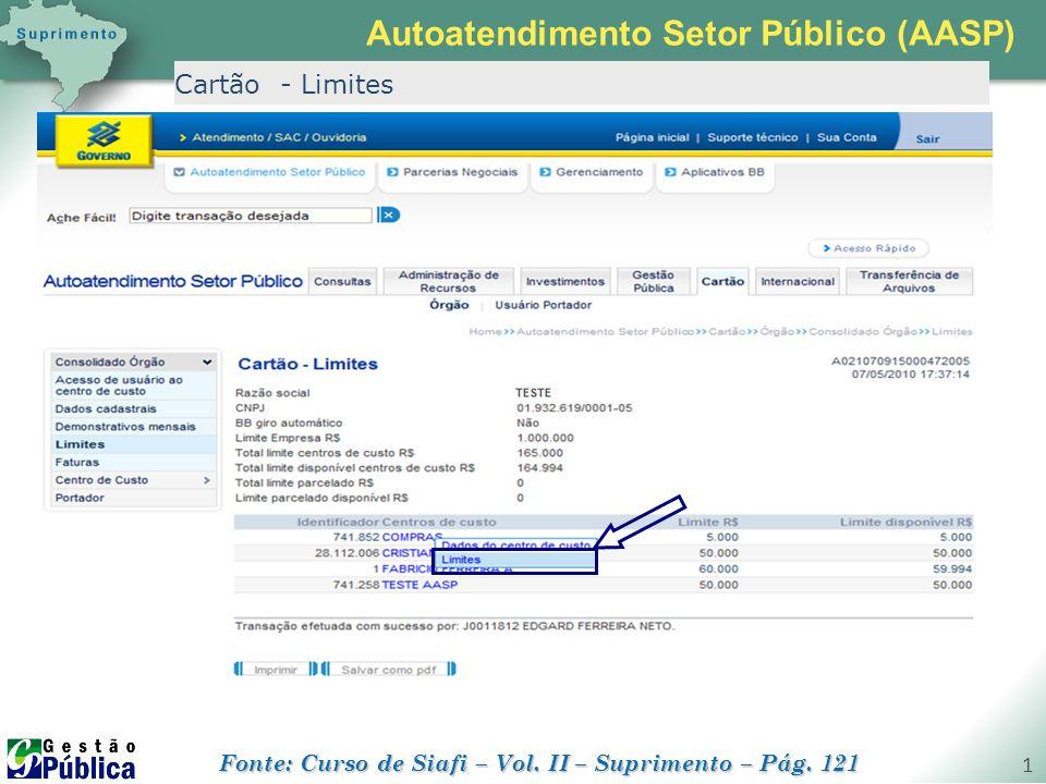 gestaopublica.com.br 1 Cartão - Limites Autoatendimento Setor Público (AASP) Fonte: Curso de Siafi – Vol. II – Suprimento – Pág. 121