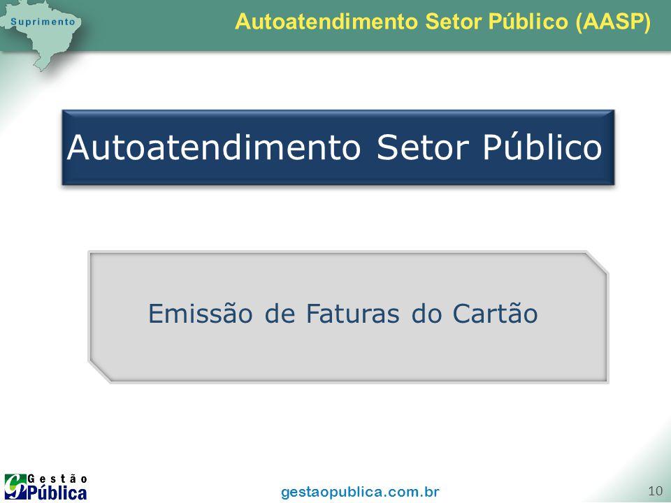 gestaopublica.com.br 10 Autoatendimento Setor Público Emissão de Faturas do Cartão Autoatendimento Setor Público (AASP)