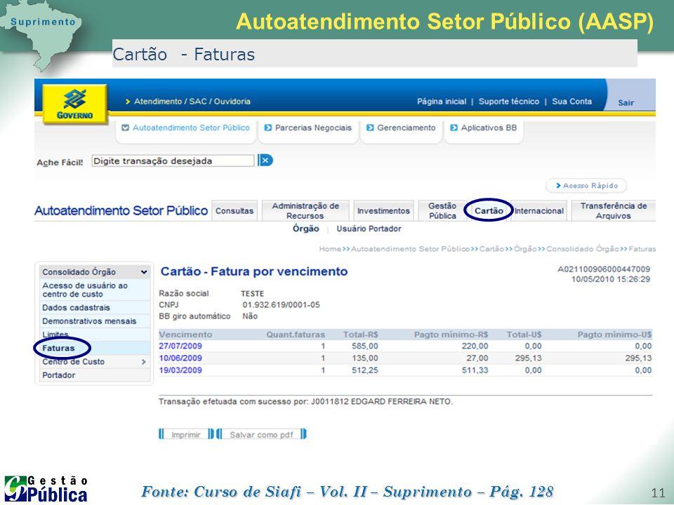 gestaopublica.com.br 11 Cartão - Faturas Autoatendimento Setor Público (AASP) Fonte: Curso de Siafi – Vol. II – Suprimento – Pág. 128