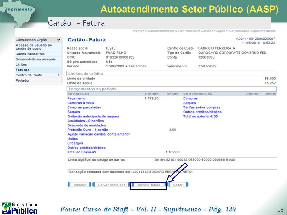gestaopublica.com.br 15 Cartão - Fatura Autoatendimento Setor Público (AASP) Fonte: Curso de Siafi – Vol. II – Suprimento – Pág. 130