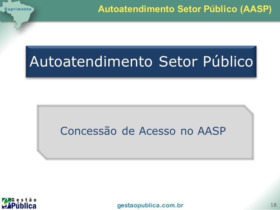 gestaopublica.com.br 18 Autoatendimento Setor Público Concessão de Acesso no AASP Autoatendimento Setor Público (AASP)