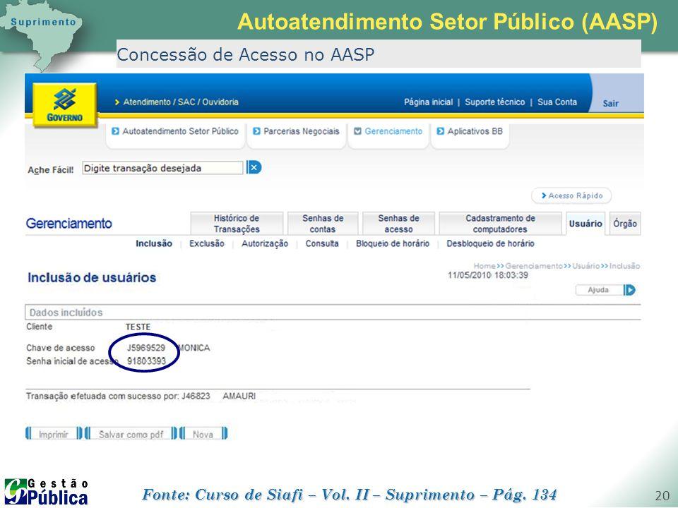 gestaopublica.com.br 20 Concessão de Acesso no AASP Autoatendimento Setor Público (AASP) Fonte: Curso de Siafi – Vol. II – Suprimento – Pág. 134