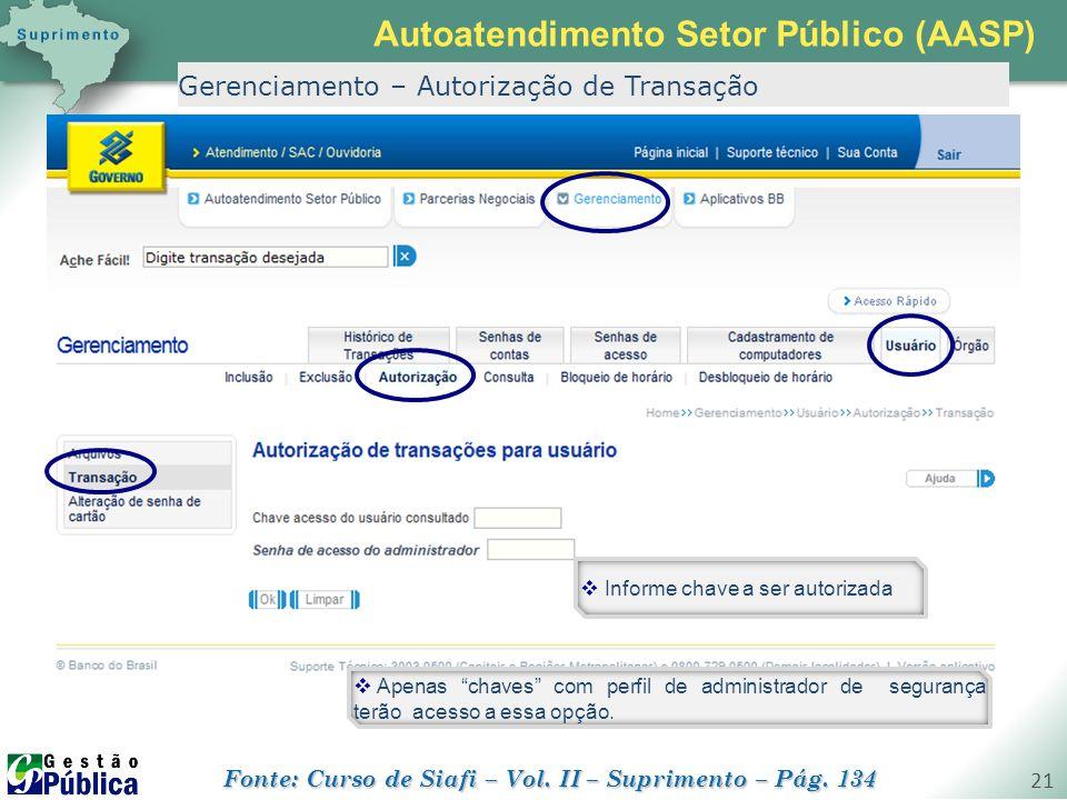 """gestaopublica.com.br 21 Gerenciamento – Autorização de Transação  Apenas """"chaves"""" com perfil de administrador de segurança terão acesso a essa opção."""
