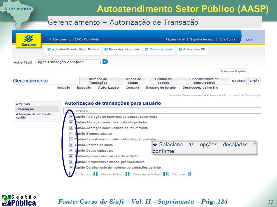 gestaopublica.com.br 22 Gerenciamento – Autorização de Transação  Selecione as opções desejadas e confirme Autoatendimento Setor Público (AASP) Fonte