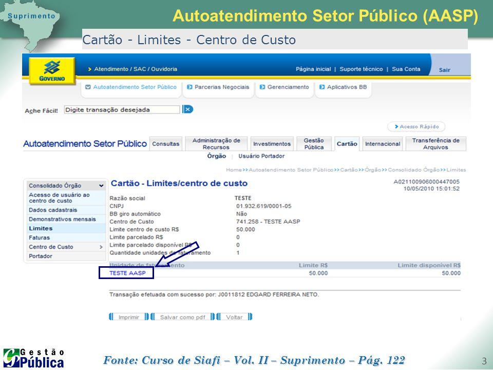 gestaopublica.com.br 3 Cartão - Limites - Centro de Custo Autoatendimento Setor Público (AASP) Fonte: Curso de Siafi – Vol. II – Suprimento – Pág. 122