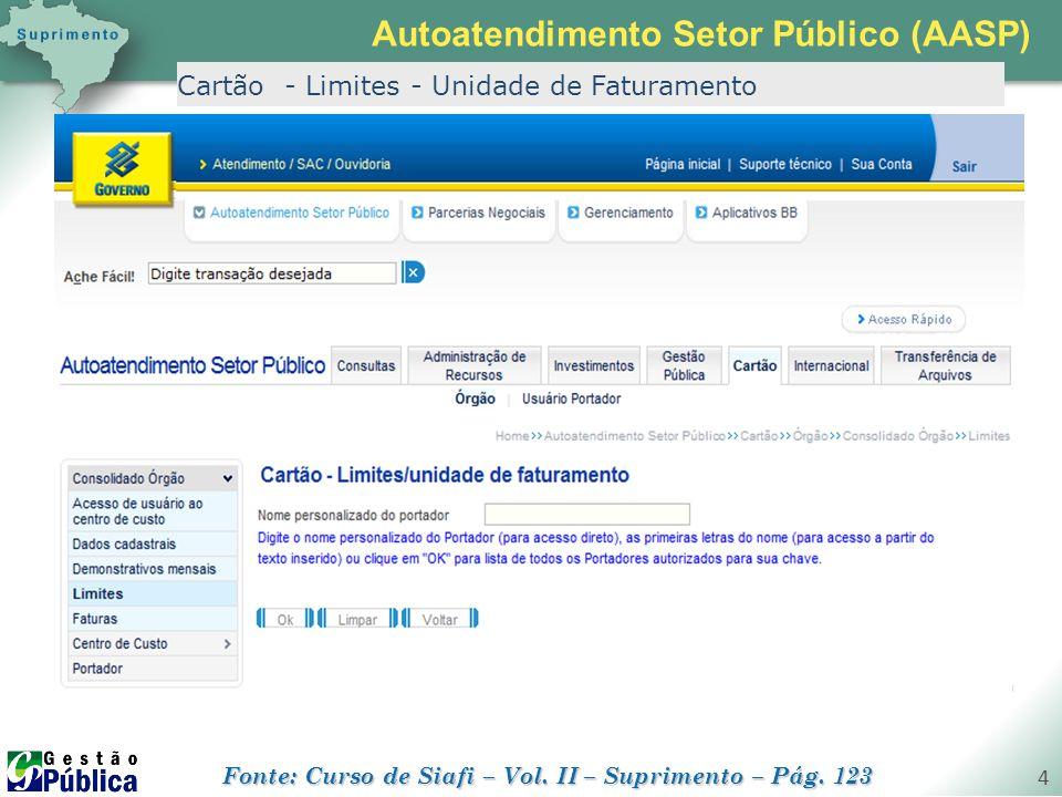 gestaopublica.com.br 4 Cartão - Limites - Unidade de Faturamento Autoatendimento Setor Público (AASP) Fonte: Curso de Siafi – Vol. II – Suprimento – P