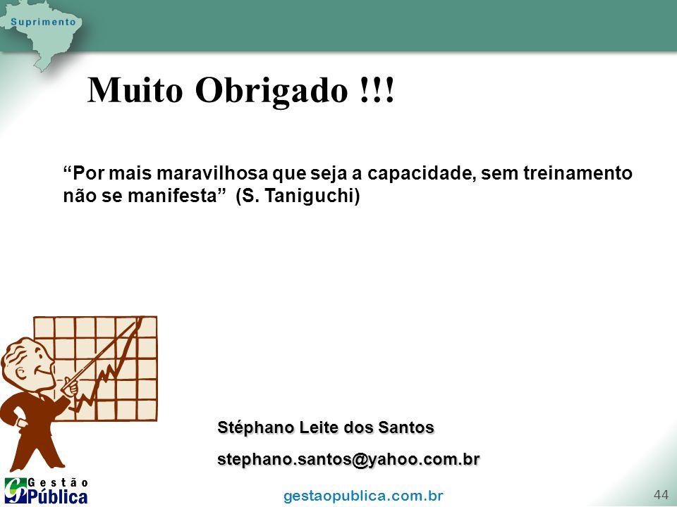 """gestaopublica.com.br 44 Muito Obrigado !!! Stéphano Leite dos Santos stephano.santos@yahoo.com.br """"Por mais maravilhosa que seja a capacidade, sem tre"""
