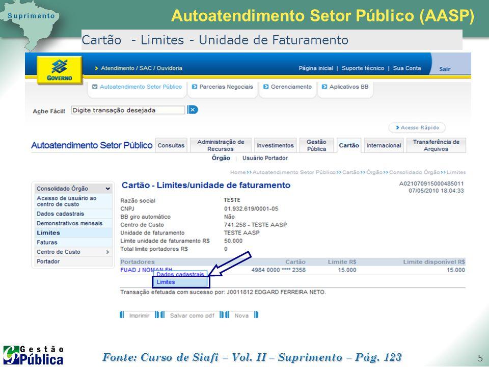 gestaopublica.com.br 5 Cartão - Limites - Unidade de Faturamento Autoatendimento Setor Público (AASP) Fonte: Curso de Siafi – Vol. II – Suprimento – P