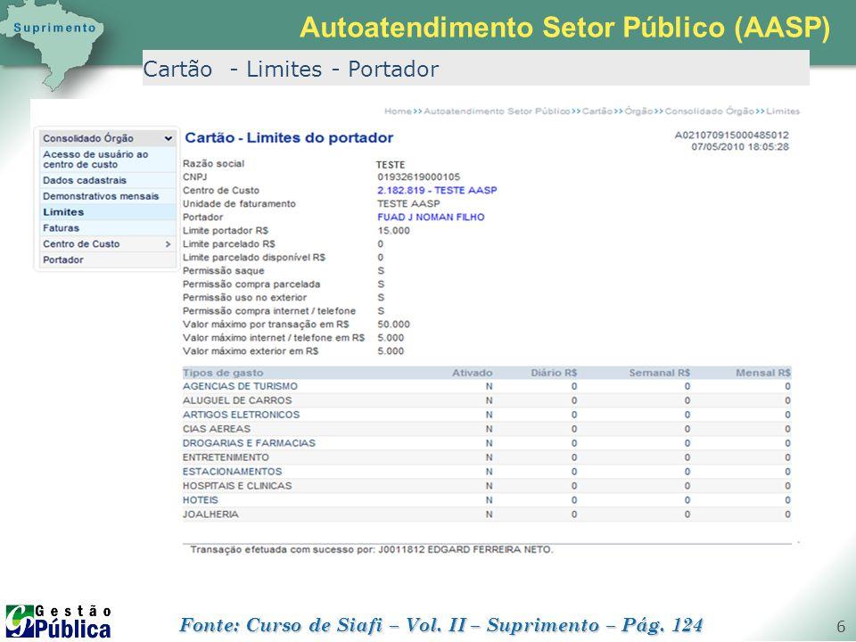 gestaopublica.com.br 6 Cartão - Limites - Portador Autoatendimento Setor Público (AASP) Fonte: Curso de Siafi – Vol. II – Suprimento – Pág. 124