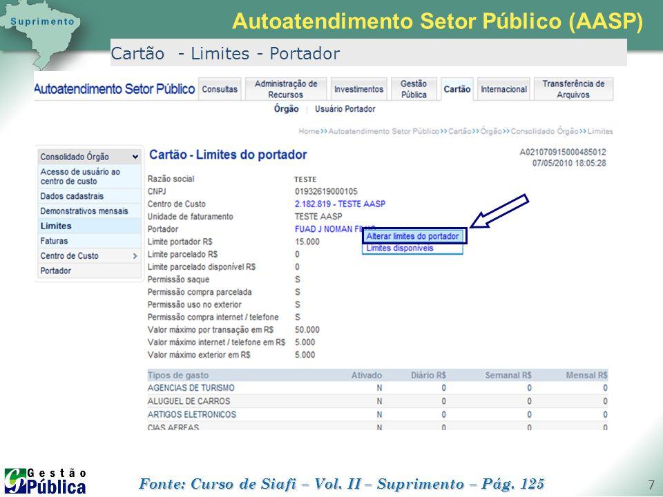 gestaopublica.com.br 7 Cartão - Limites - Portador Autoatendimento Setor Público (AASP) Fonte: Curso de Siafi – Vol. II – Suprimento – Pág. 125