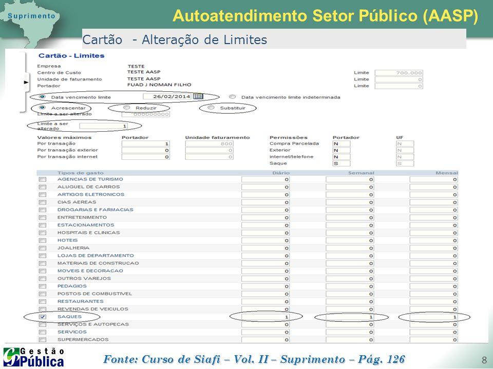 gestaopublica.com.br 8 Cartão - Alteração de Limites Autoatendimento Setor Público (AASP) Fonte: Curso de Siafi – Vol. II – Suprimento – Pág. 126