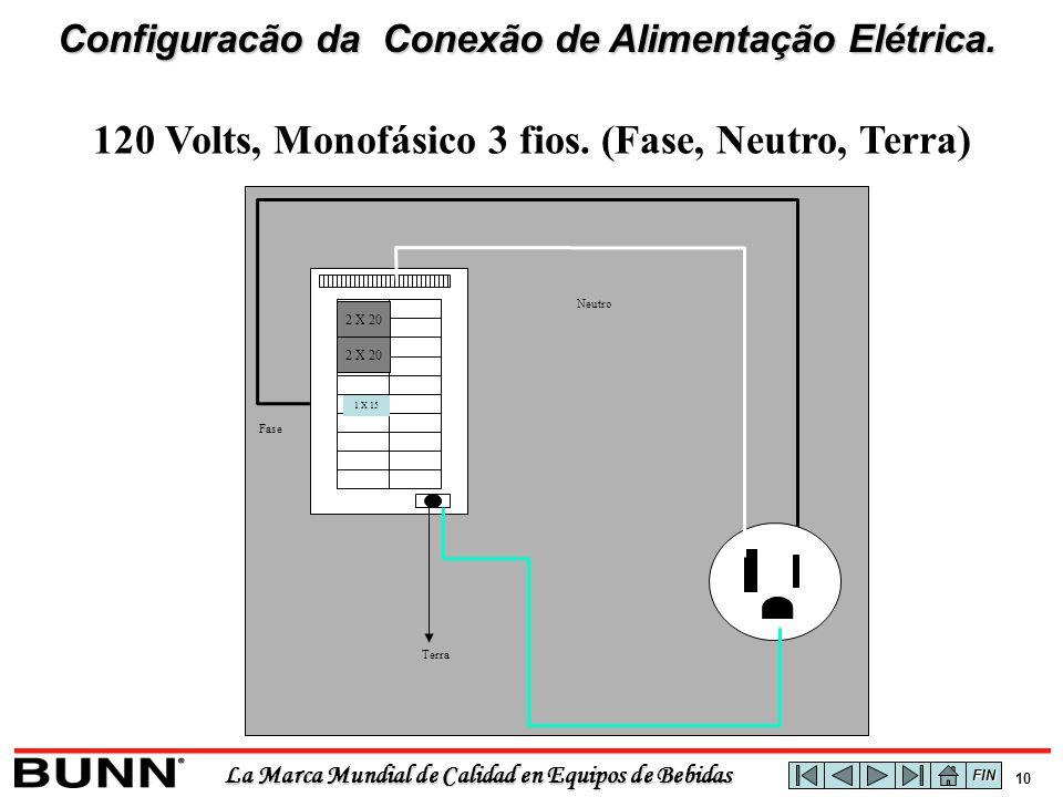 La Marca Mundial de Calidad en Equipos de Bebidas 9 Terra Neutro Fase 1 X 15 2 X 20 120/208 ou 120/240 Volts, Monofásico 4 fios.