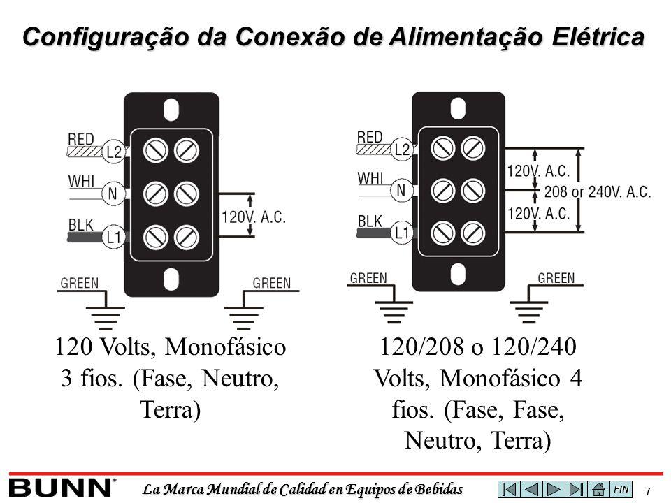 La Marca Mundial de Calidad en Equipos de Bebidas 6 Leitura das Resistências de Aquecimento Para verificar a leitura da corrente em uma resistência é necessário efetuar um cálculo da corrente em Ampéres segundo a potência do equipamento, aplicando a seguinte formula: Corrente = Watts Volts Exemplos: 1320 Watts a 120 Vac1320 = 11 Amperes 120 1800 Watts a 120 Vac1800 = 15 Amperes 120 3500 Watts a 240 Vac3500 = 14.58 Amperes 240 Lembrando que a leitura que obtemos com um multimetro não será identica ao resultado da fórmula, mas será muito similar ou próxima FIN