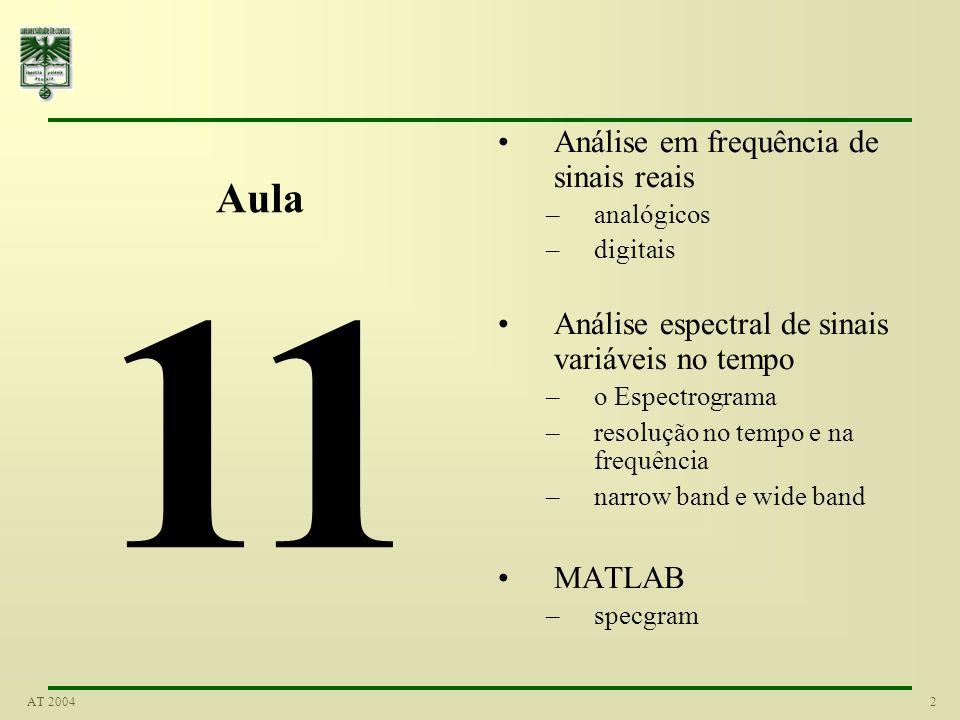 2AT 2004 Aula 11 Análise em frequência de sinais reais –analógicos –digitais Análise espectral de sinais variáveis no tempo –o Espectrograma –resoluçã