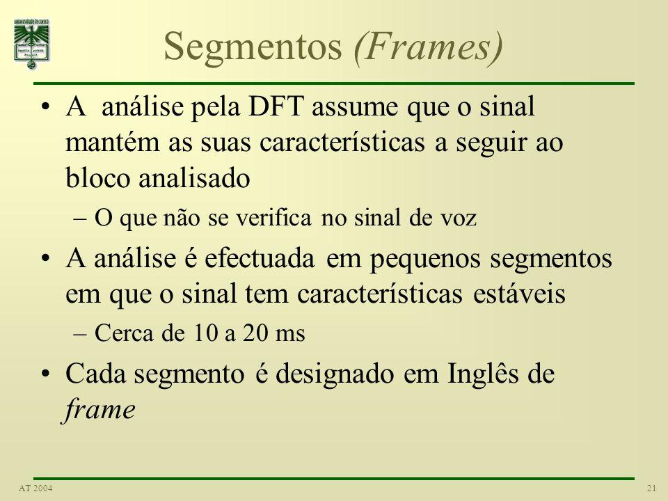 21AT 2004 Segmentos (Frames) A análise pela DFT assume que o sinal mantém as suas características a seguir ao bloco analisado –O que não se verifica n