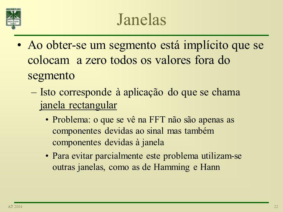 22AT 2004 Janelas Ao obter-se um segmento está implícito que se colocam a zero todos os valores fora do segmento –Isto corresponde à aplicação do que