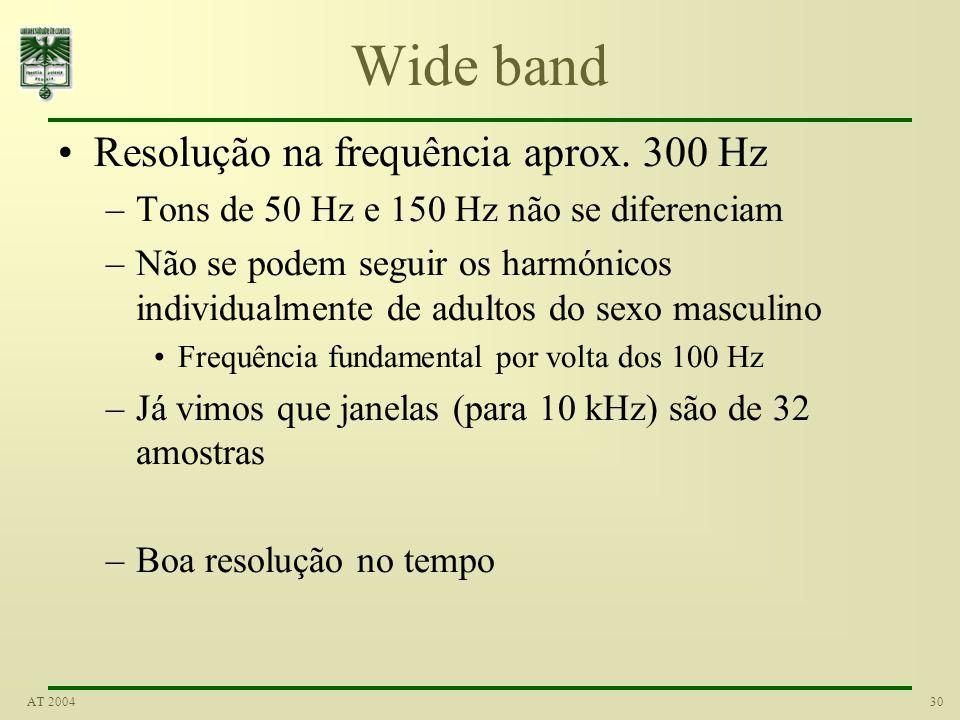 30AT 2004 Wide band Resolução na frequência aprox. 300 Hz –Tons de 50 Hz e 150 Hz não se diferenciam –Não se podem seguir os harmónicos individualment