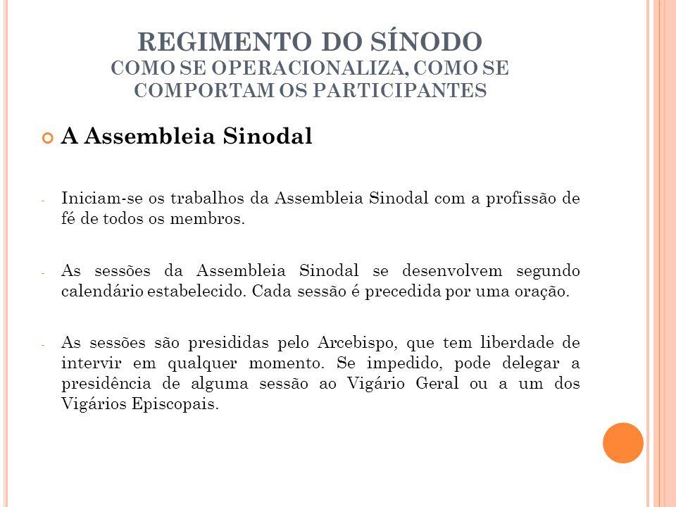 REGIMENTO DO SÍNODO COMO SE OPERACIONALIZA, COMO SE COMPORTAM OS PARTICIPANTES A Assembleia Sinodal - Iniciam-se os trabalhos da Assembleia Sinodal co