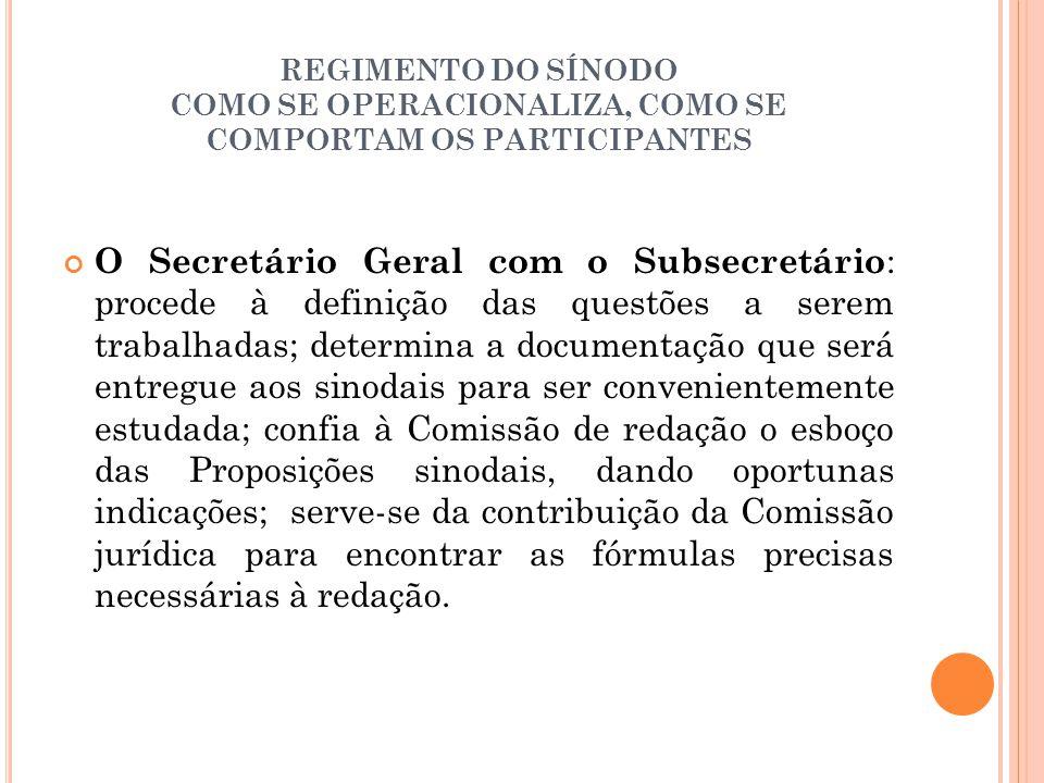 REGIMENTO DO SÍNODO COMO SE OPERACIONALIZA, COMO SE COMPORTAM OS PARTICIPANTES O Secretário Geral com o Subsecretário : procede à definição das questõ