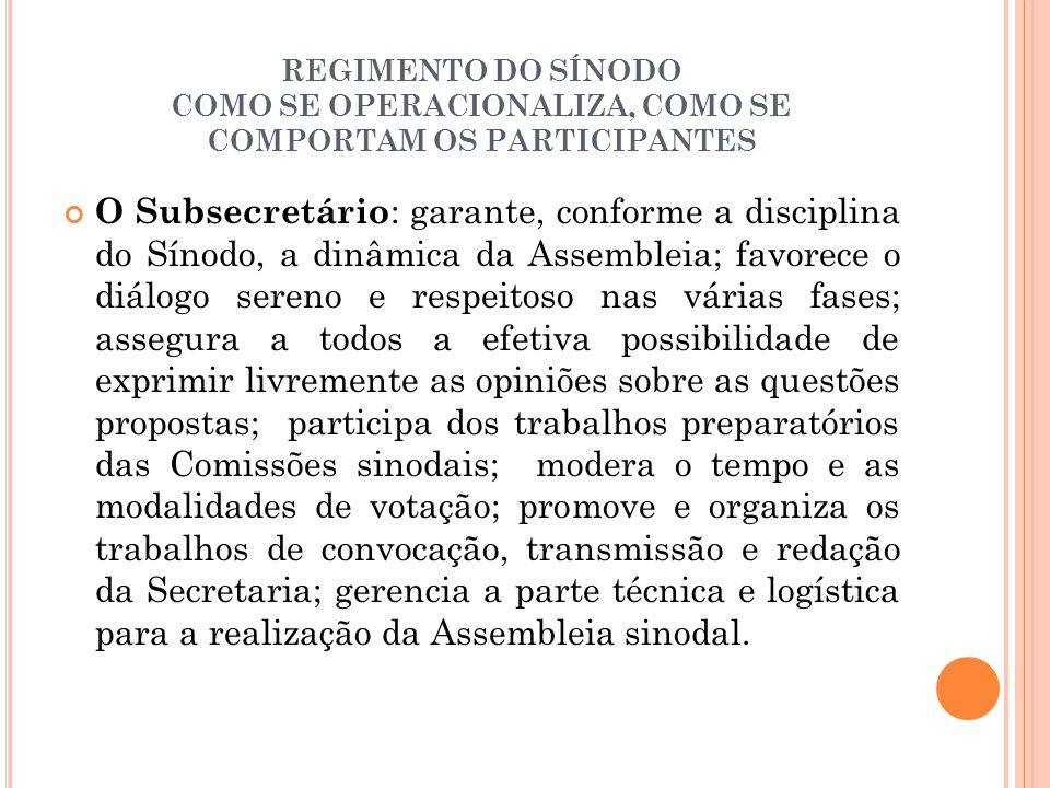 REGIMENTO DO SÍNODO COMO SE OPERACIONALIZA, COMO SE COMPORTAM OS PARTICIPANTES O Subsecretário : garante, conforme a disciplina do Sínodo, a dinâmica