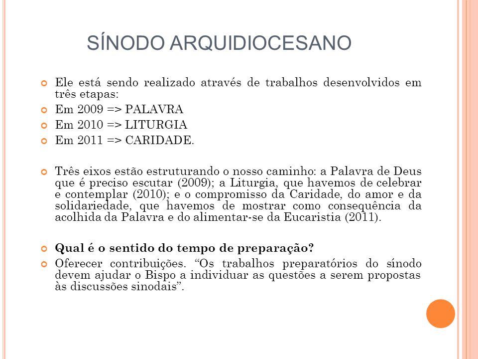 SÍNODO ARQUIDIOCESANO Ele está sendo realizado através de trabalhos desenvolvidos em três etapas: Em 2009 => PALAVRA Em 2010 => LITURGIA Em 2011 => CA
