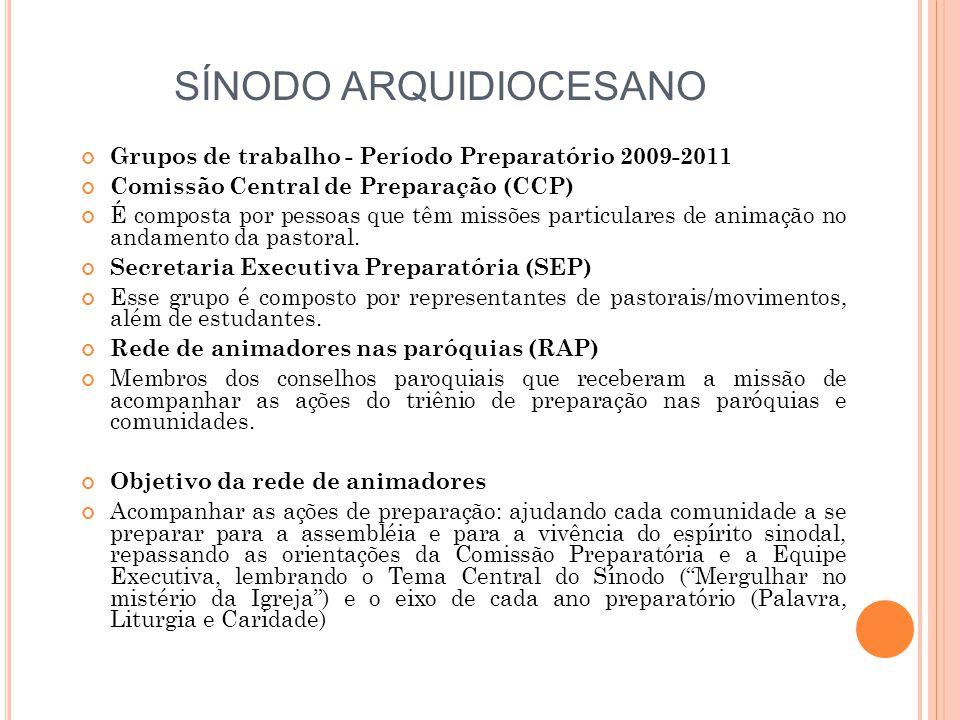 SÍNODO ARQUIDIOCESANO Grupos de trabalho - Período Preparatório 2009-2011 Comissão Central de Preparação (CCP) É composta por pessoas que têm missões particulares de animação no andamento da pastoral.