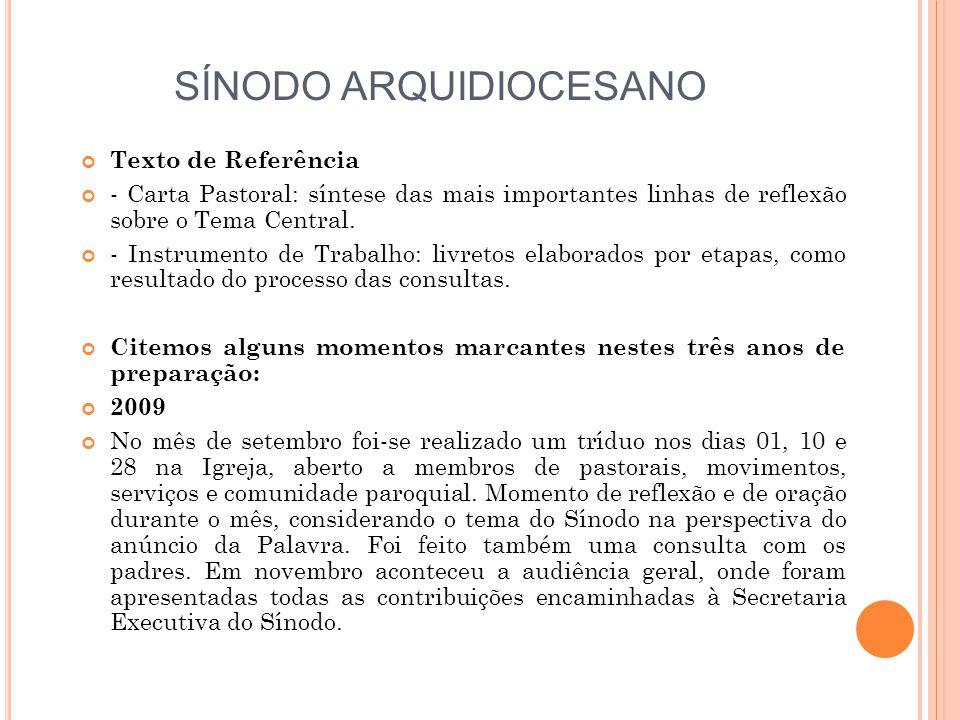 SÍNODO ARQUIDIOCESANO Texto de Referência - Carta Pastoral: síntese das mais importantes linhas de reflexão sobre o Tema Central.