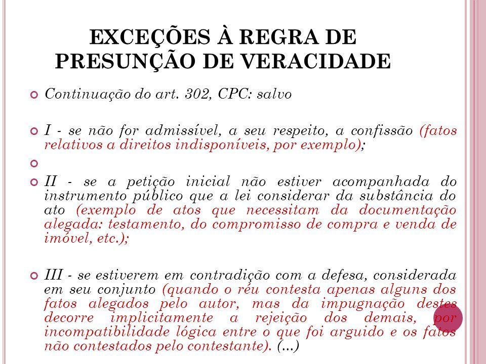 EXCEÇÕES À REGRA DE PRESUNÇÃO DE VERACIDADE Continuação do art. 302, CPC: salvo I - se não for admissível, a seu respeito, a confissão (fatos relativo