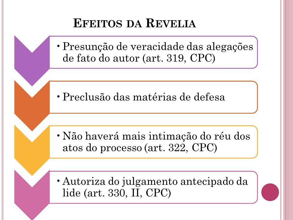 E FEITOS DA R EVELIA Presunção de veracidade das alegações de fato do autor (art. 319, CPC) Preclusão das matérias de defesa Não haverá mais intimação
