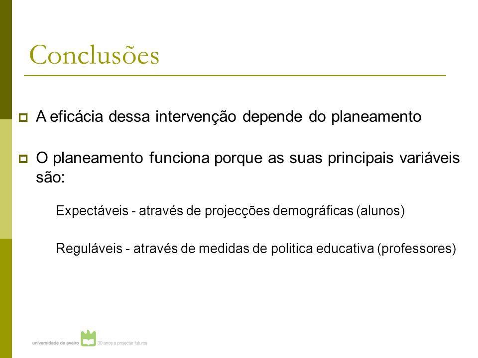 Conclusões  O planeamento funciona porque as suas principais variáveis são: Expectáveis - através de projecções demográficas (alunos) Reguláveis - através de medidas de politica educativa (professores)  A eficácia dessa intervenção depende do planeamento