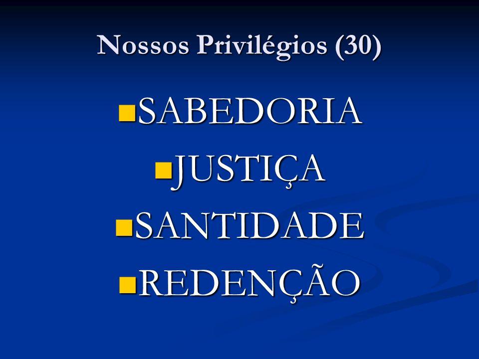 Nossos Privilégios (30) SABEDORIA SABEDORIA JUSTIÇA JUSTIÇA SANTIDADE SANTIDADE REDENÇÃO REDENÇÃO