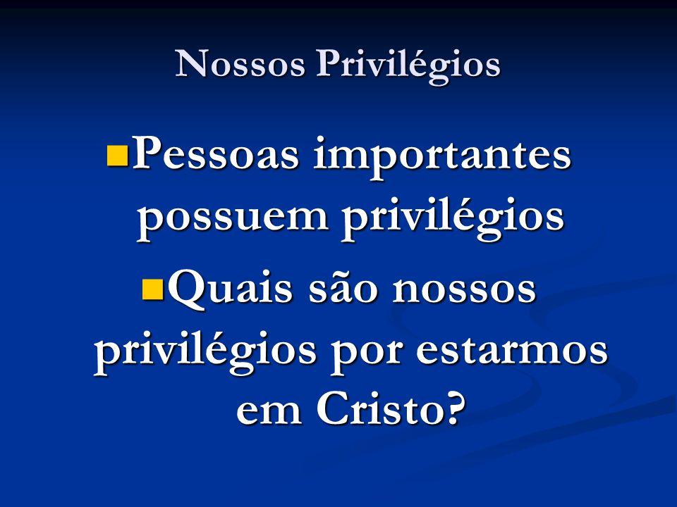 Nossos Privilégios Pessoas importantes possuem privilégios Pessoas importantes possuem privilégios Quais são nossos privilégios por estarmos em Cristo.