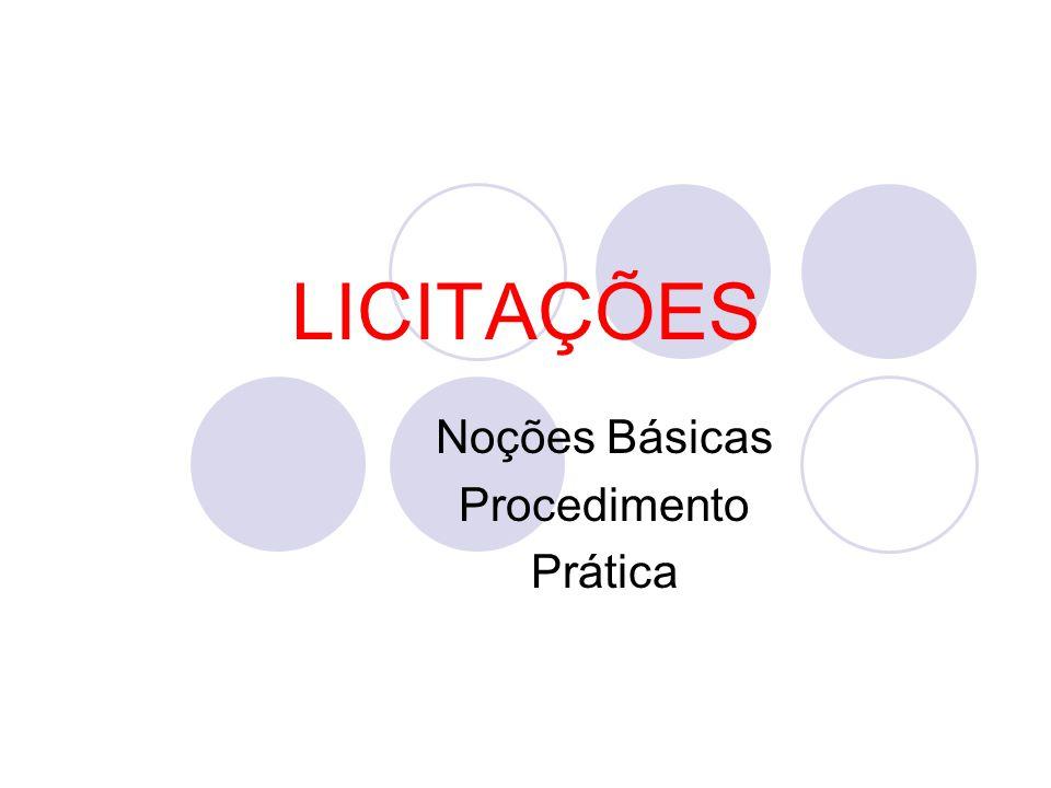 LICITAÇÕES Noções Básicas Procedimento Prática