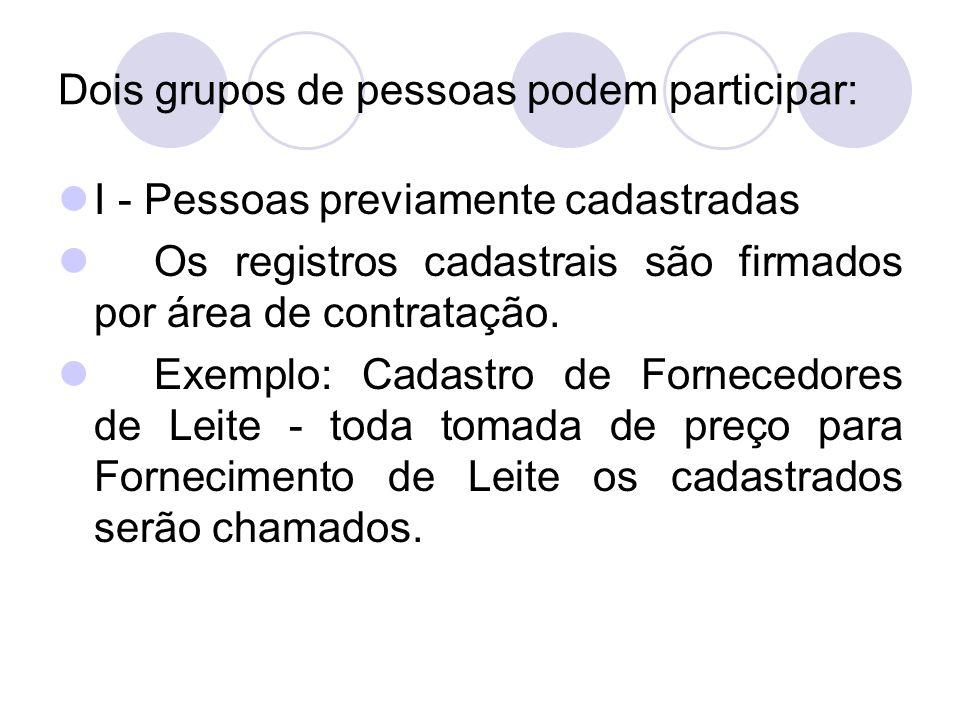 Dois grupos de pessoas podem participar: I - Pessoas previamente cadastradas Os registros cadastrais são firmados por área de contratação.