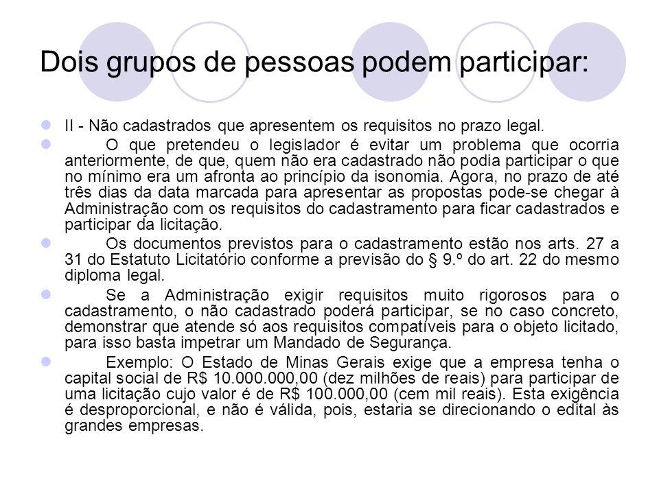 Dois grupos de pessoas podem participar: II - Não cadastrados que apresentem os requisitos no prazo legal.