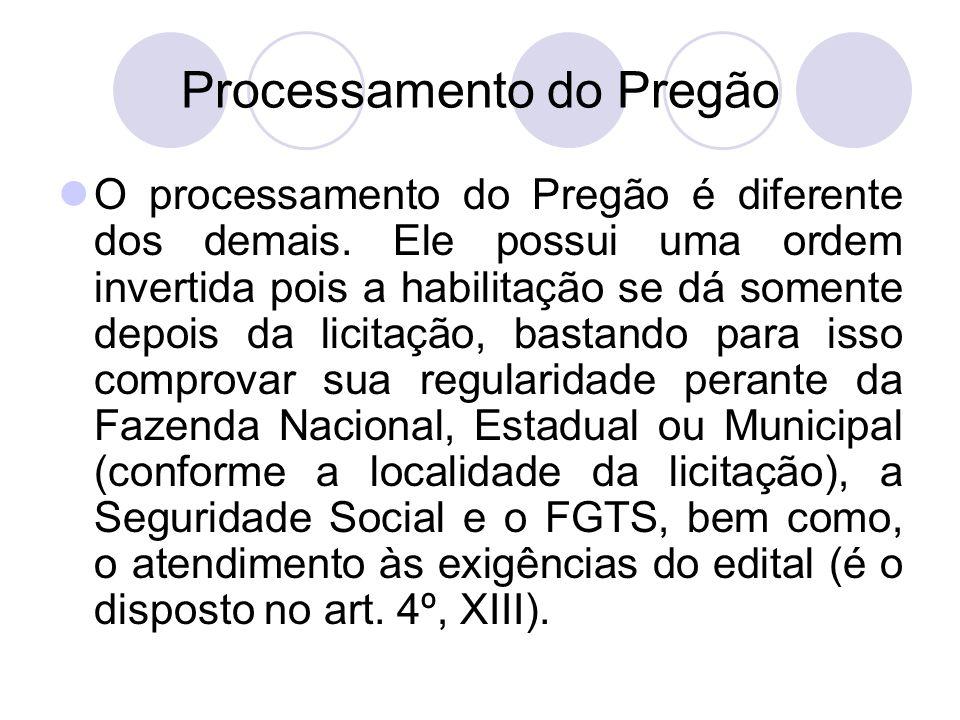 Processamento do Pregão O processamento do Pregão é diferente dos demais.