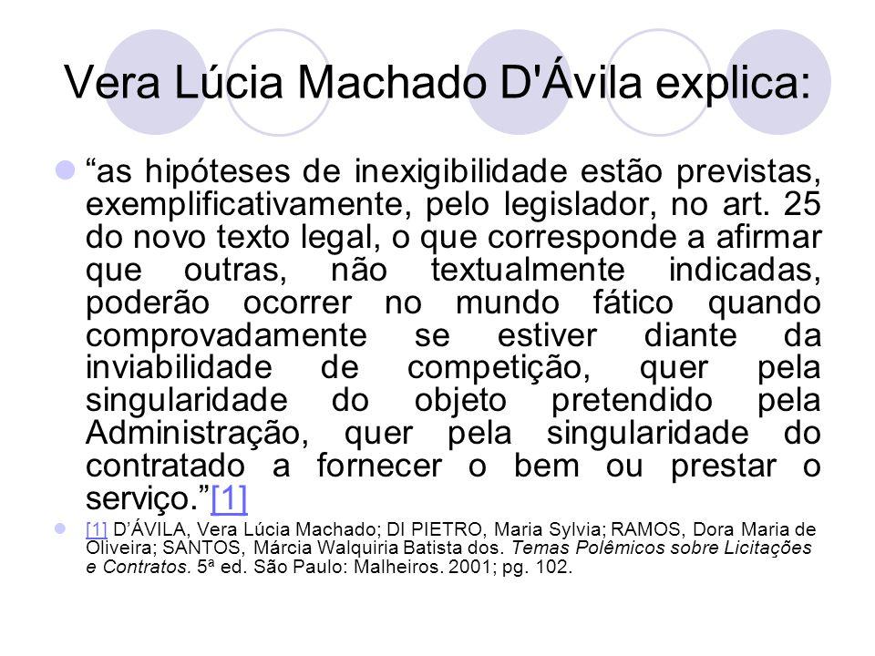 Vera Lúcia Machado D Ávila explica: as hipóteses de inexigibilidade estão previstas, exemplificativamente, pelo legislador, no art.