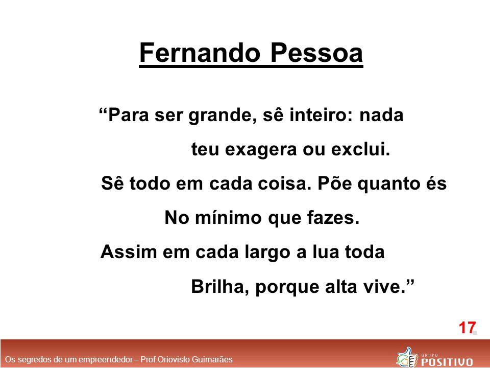 """Fernando Pessoa """"Para ser grande, sê inteiro: nada teu exagera ou exclui. Sê todo em cada coisa. Põe quanto és No mínimo que fazes. Assim em cada larg"""