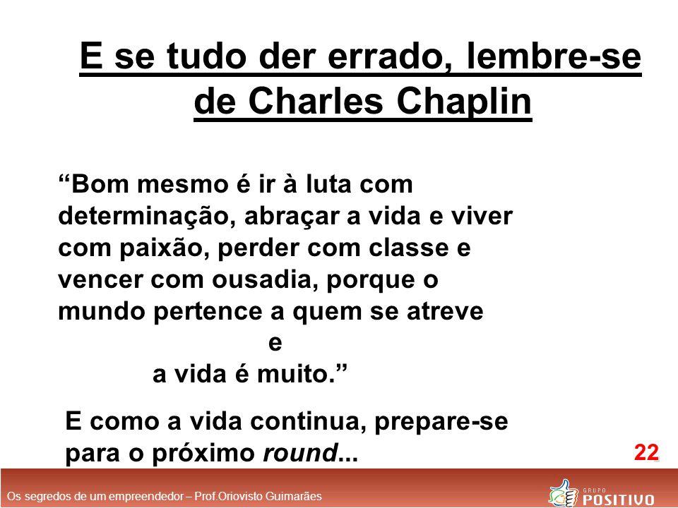 E se tudo der errado, lembre-se de Charles Chaplin Bom mesmo é ir à luta com determinação, abraçar a vida e viver com paixão, perder com classe e vencer com ousadia, porque o mundo pertence a quem se atreve e a vida é muito. E como a vida continua, prepare-se para o próximo round...