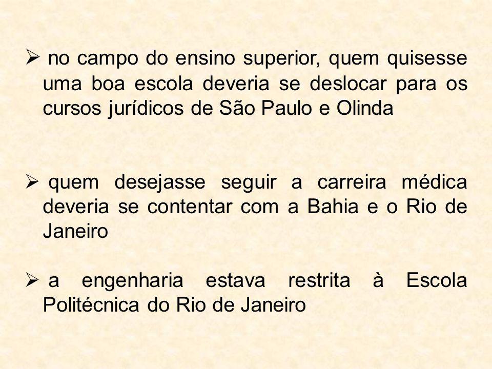  no campo do ensino superior, quem quisesse uma boa escola deveria se deslocar para os cursos jurídicos de São Paulo e Olinda  quem desejasse seguir