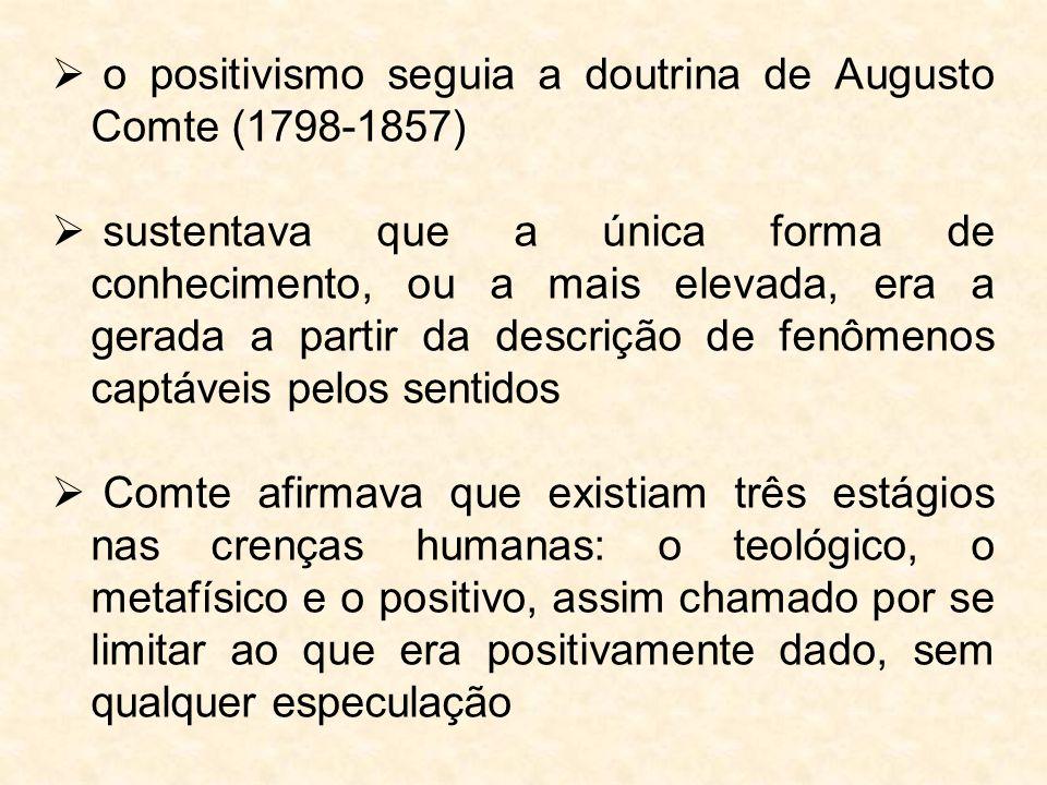  o positivismo seguia a doutrina de Augusto Comte (1798-1857)  sustentava que a única forma de conhecimento, ou a mais elevada, era a gerada a parti