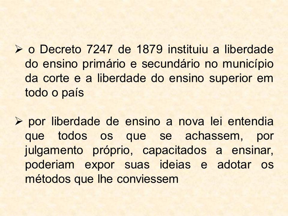  o Decreto 7247 de 1879 instituiu a liberdade do ensino primário e secundário no município da corte e a liberdade do ensino superior em todo o país 