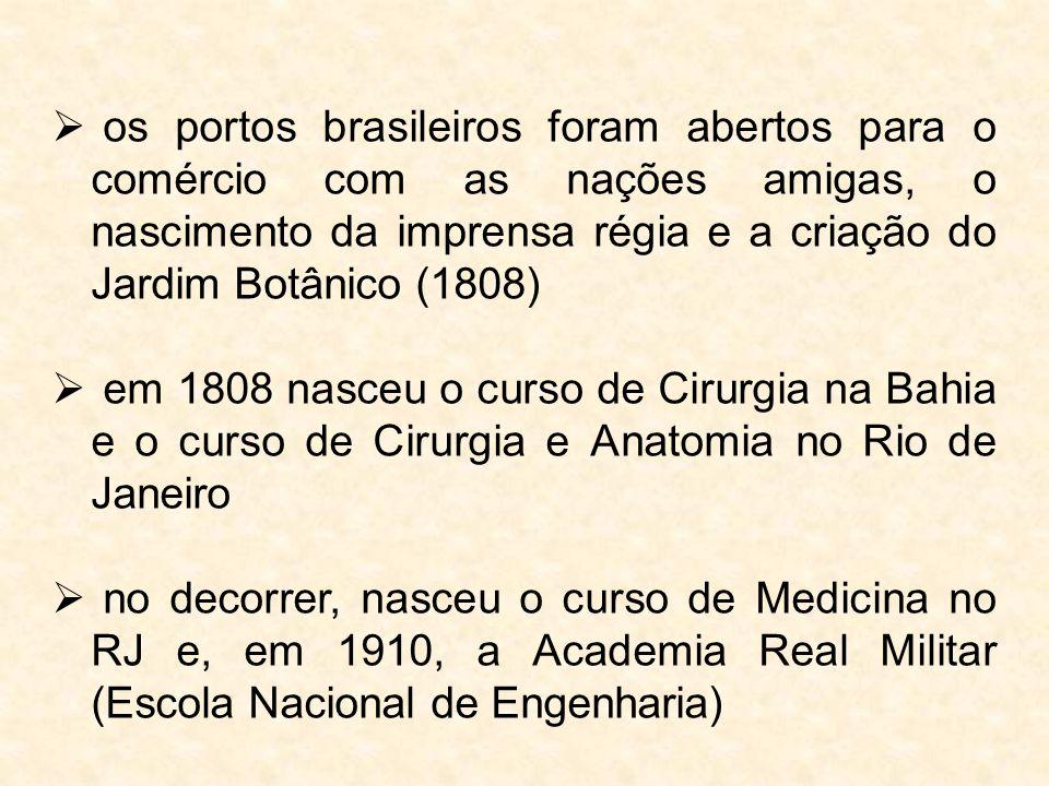  os portos brasileiros foram abertos para o comércio com as nações amigas, o nascimento da imprensa régia e a criação do Jardim Botânico (1808)  em