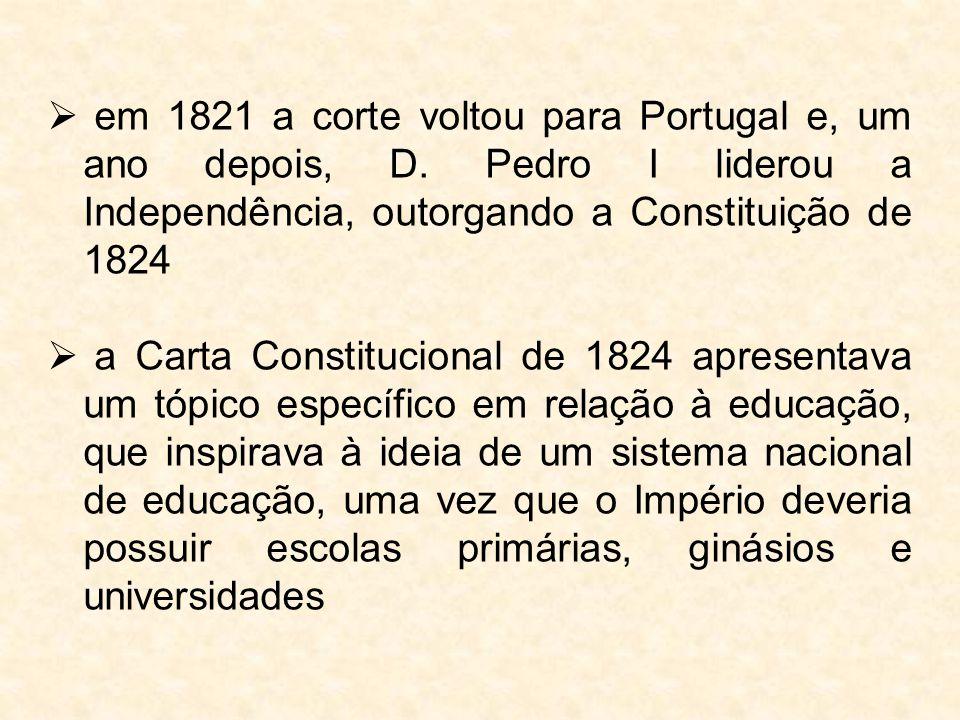  em 1821 a corte voltou para Portugal e, um ano depois, D. Pedro I liderou a Independência, outorgando a Constituição de 1824  a Carta Constituciona