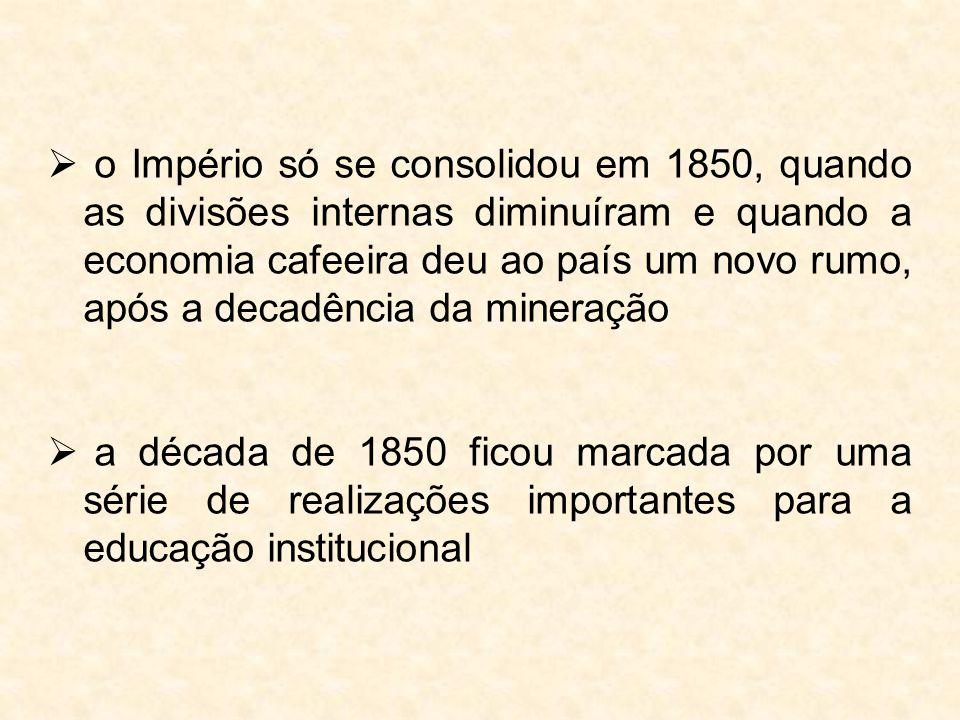  o Império só se consolidou em 1850, quando as divisões internas diminuíram e quando a economia cafeeira deu ao país um novo rumo, após a decadência