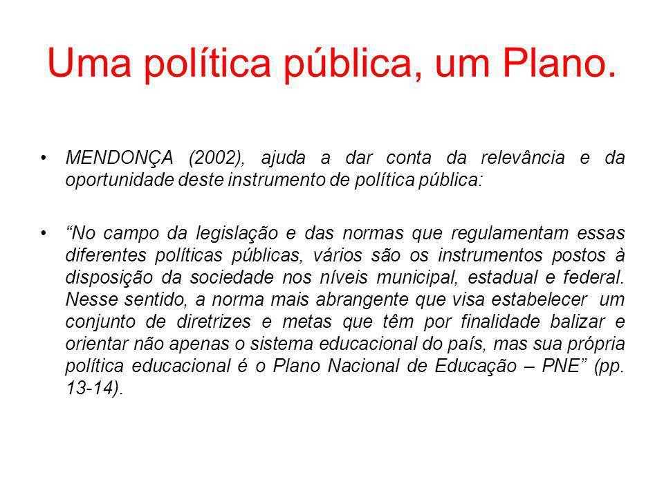 Uma política pública, um Plano.