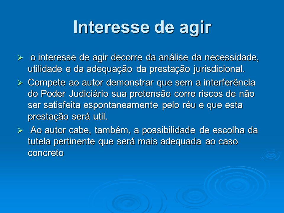 Interesse de agir  o interesse de agir decorre da análise da necessidade, utilidade e da adequação da prestação jurisdicional.  Compete ao autor dem