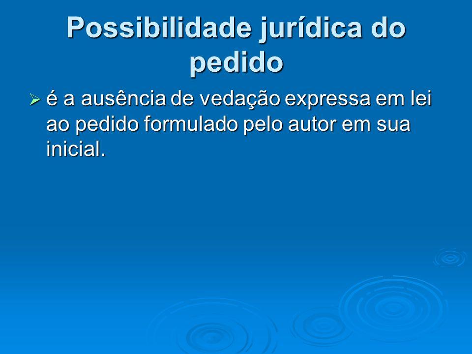 Possibilidade jurídica do pedido  é a ausência de vedação expressa em lei ao pedido formulado pelo autor em sua inicial.