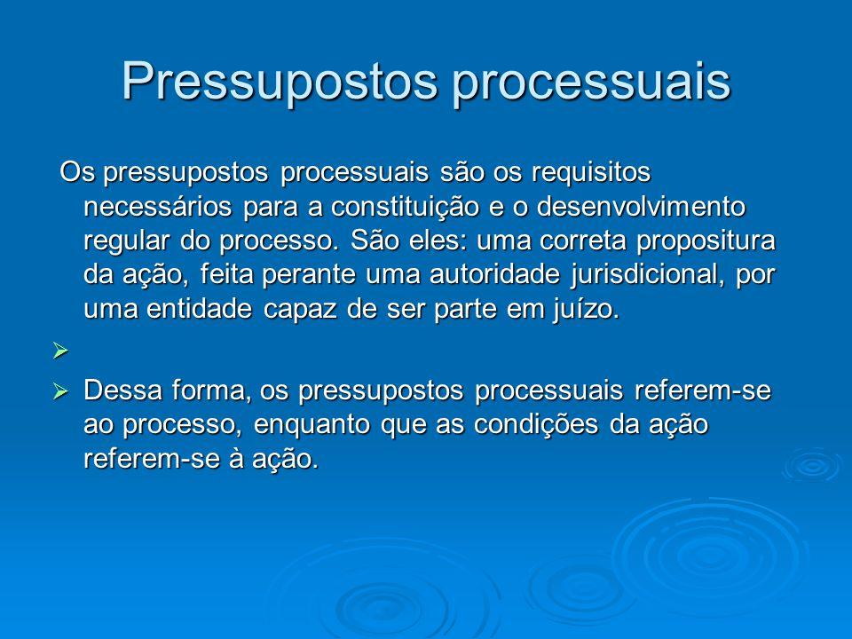 Pressupostos processuais Os pressupostos processuais são os requisitos necessários para a constituição e o desenvolvimento regular do processo. São el