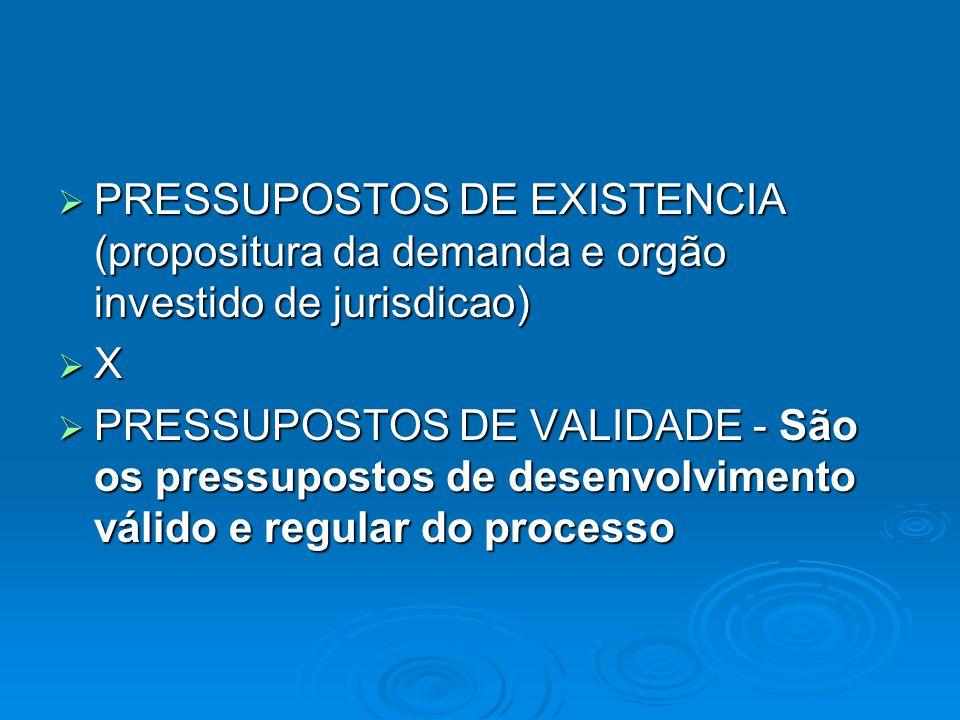  PRESSUPOSTOS DE EXISTENCIA (propositura da demanda e orgão investido de jurisdicao)  X  PRESSUPOSTOS DE VALIDADE - São os pressupostos de desenvol
